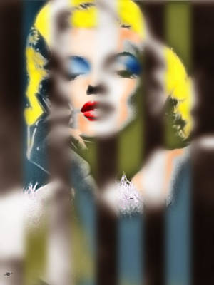 Painting - Marilyn Monroe Fuzzy Stripes by Tony Rubino