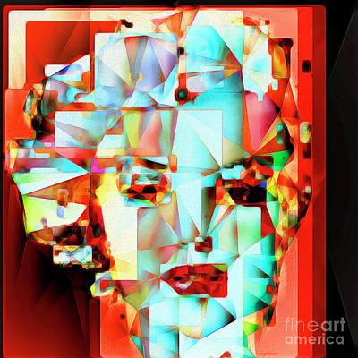 Print featuring the photograph Marilyn Monroe In Abstract Cubism 20170326 by Wingsdomain Art and Photography