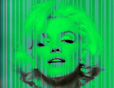 Digital Art - Marilyn Monroe In Green by Kim Gauge