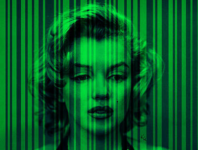 Digital Art - Marilyn Monroe In Green Stripes by Kim Gauge