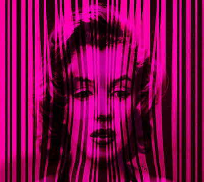 Digital Art - Marilyn Monroe In Hot Pink Stripes by Kim Gauge