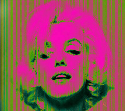 Digital Art - Marilyn Monroe In Pink And Green by Kim Gauge