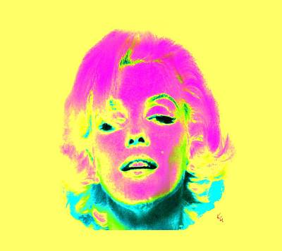 Digital Art - Marilyn Monroe In Psychedelic Color by Kim Gauge