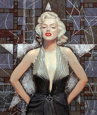 Marylin Painting - Marilyn Monroe, Old Hollywood, Celebrity Art, Famous Woman, Brightest Blonde  by Julia Khoroshikh