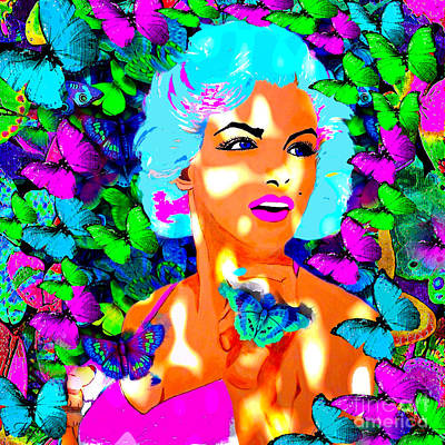 Painting - Marilyn Monroe Light And Butterflies by Saundra Myles