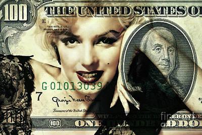 Benjamin Franklin Mixed Media - Marilyn Monroe, Miniature, One Hundred Dollar Bill, Benjamin Franklin by Thomas Pollart