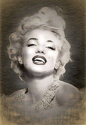 Icon Drawing - Marilyn Monroe Monochrome Portrait by Quim Abella