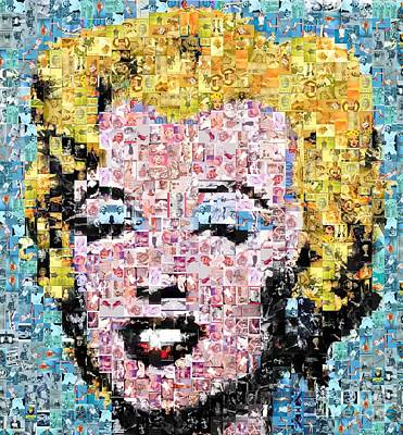 Mosaic Digital Art - Marilyn Monroe Mosaic by Baltzgar