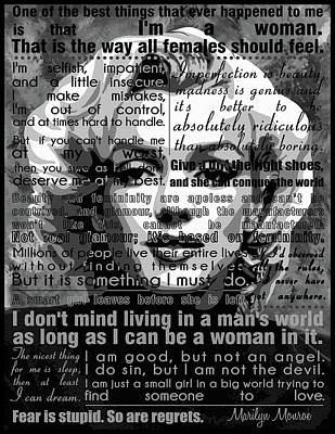 Marilyn Monroe Painting -  Marilyn Monroe Motivational Inspirational Independent Quotes  by Diana Van