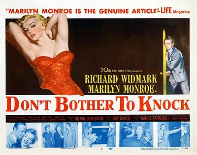 Photograph - Marilyn Monroe Movie Poster Don't Bother To Knock by R Muirhead Art