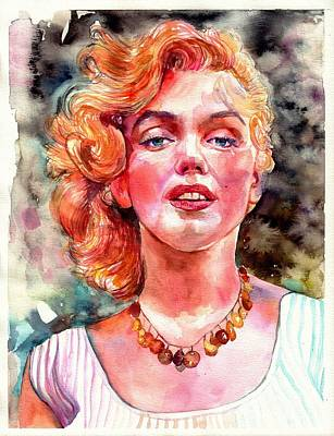 Vintage Actress Painting - Marilyn Monroe Painting by Suzann's Art