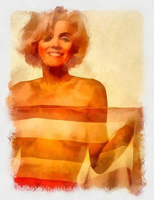 Actors Royalty Free Images - Marilyn Monroe Pinup Royalty-Free Image by Esoterica Art Agency