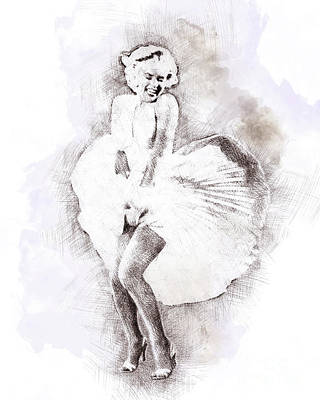 Marilyn Monroe Portrait 03 Art Print by Pablo Romero