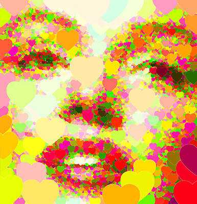 Painting - Marilyn Monroe Portrait - Hearts by Samuel Majcen
