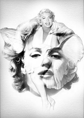 Dumb And Dumber Painting - Marilyn Monroe Portrait In Black And White by Diana Van