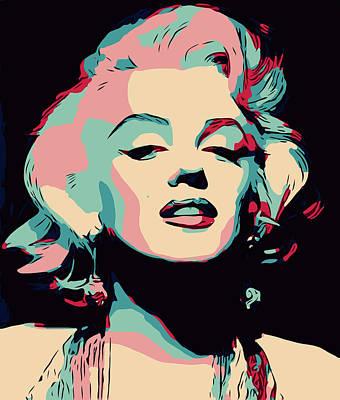 Digital Art - Marilyn Monroe Portrait Simple by Yury Malkov