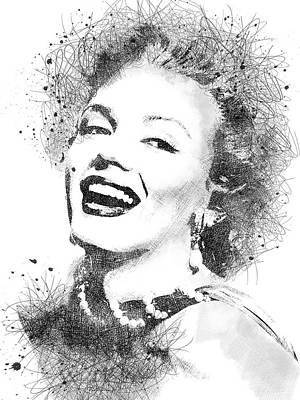 Actors Royalty-Free and Rights-Managed Images - Marilyn Monroe scribbles portrait by Mihaela Pater