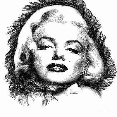 Digital Art - Marilyn Monroe Sketch In Black And White 2 by Rafael Salazar