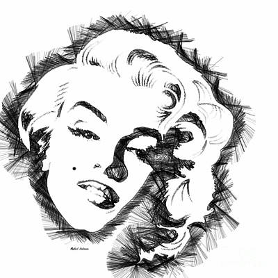 Digital Art - Marilyn Monroe Sketch In Black And White by Rafael Salazar