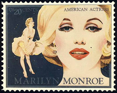 Digital Art - Marilyn Monroe Stamp by Richard Laeton