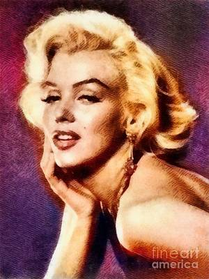 Actors Royalty-Free and Rights-Managed Images - Marilyn Monroe, Vintage Actress by John Springfield by John Springfield
