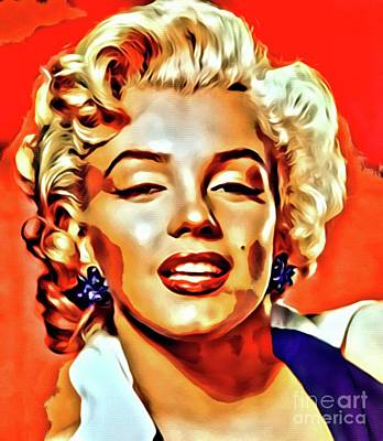 Actors Royalty-Free and Rights-Managed Images - Marilyn Monroe, Vintage Actress by Mary Bassett