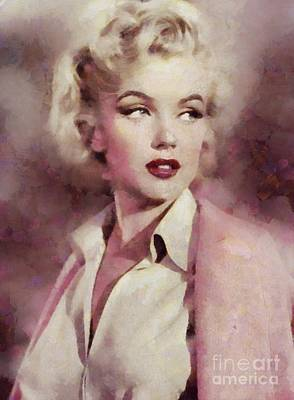 Famous Television Stars Painting - Marilyn Monroe, Vintage Hollywood Actress by Sarah Kirk