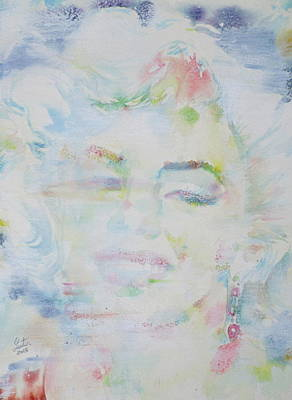 Painting - Marilyn Monroe - Watercolor Portrait.13 by Fabrizio Cassetta