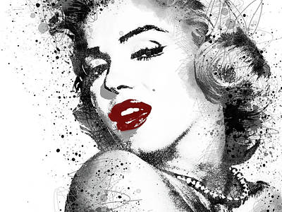Digital Art - Marilyn Monroe With Red Lipstick by Mihaela Pater