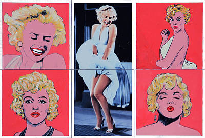 Painting - Marilyn Monroe With Sketches by John Lautermilch