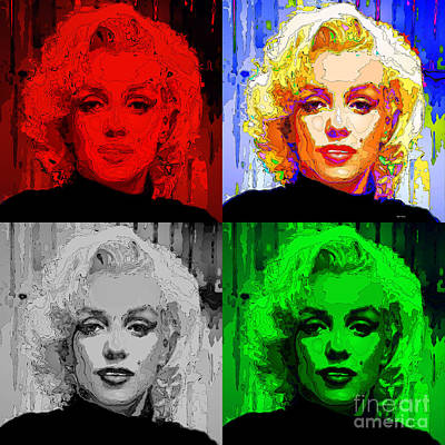 Digital Art - Marilyn Monroe - Quad. Pop Art by Rafael Salazar