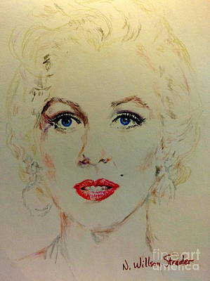 Old Blue Eyes Drawing - Marilyn In White by N Willson-Strader