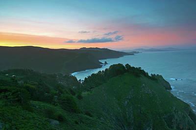 Photograph - Marin Coast, Muir Beach Overlook At Sunset, California by Robert Mutch