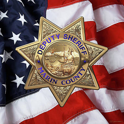 Marin County Sheriff Department - Deputy Sheriff Badge Over American Flag Art Print by Serge Averbukh