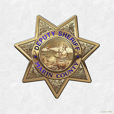 Marin County Sheriff Department - Deputy Sheriff Badge Over White Leather Art Print by Serge Averbukh