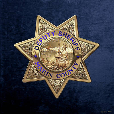 Print featuring the digital art Marin County Sheriff's Department - Deputy Sheriff's Badge Over Blue Velvet by Serge Averbukh