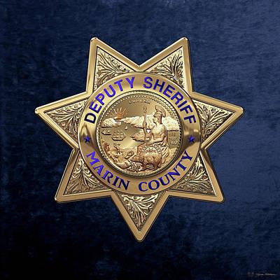 Marin County Sheriff's Department - Deputy Sheriff's Badge Over Blue Velvet Original by Serge Averbukh