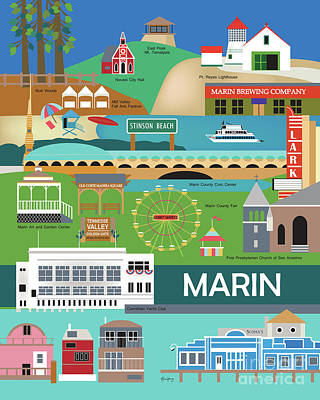 Marin County Vertical Scene - Collage Art Print by Karen Young