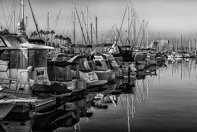 Photograph - Marina 3 Bw by Robert Hebert