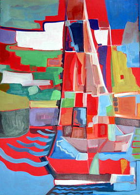 Painting - Marina Abstract  Acrylics Paintings by Therese AbouNader