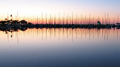Marina At Dawn Art Print by Farol Tomson