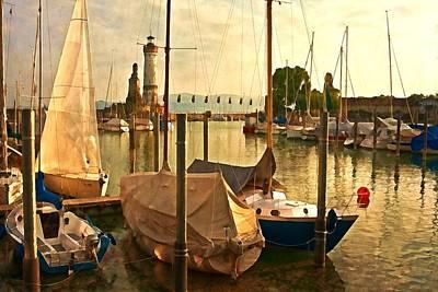 Digital Photograph - Marina At Golden Light - Digital Paint by Tatiana Travelways