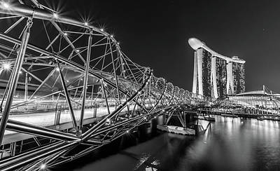 Built Structure Painting - Marina Bay In Black And White In Singapore by Dietrich Herlan