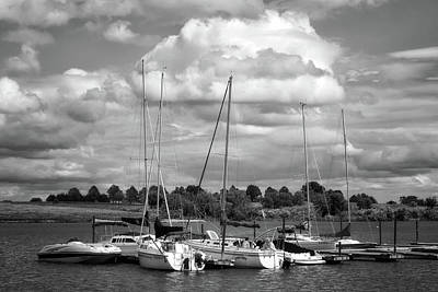 Photograph - Marina - Branched Oak Lake - Black And White by Nikolyn McDonald