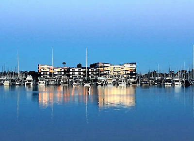 Marina Del Rey Reflections Art Print by Art Block Collections