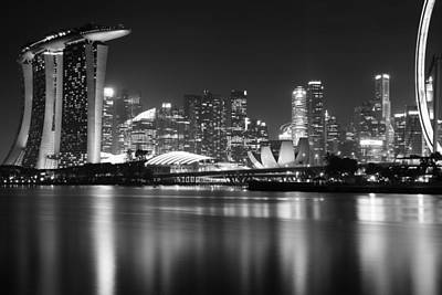 Marina South Skyline In The Night Art Print