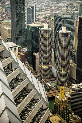 Structure Photograph - Marina Towers From Above by Andrew Soundarajan