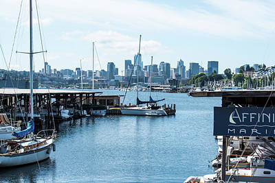 Photograph - Marinas And Seattle Skyline by Tom Cochran