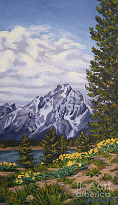 Print featuring the painting Marina's Edge, Jenny Lake, Grand Tetons by Erin Fickert-Rowland