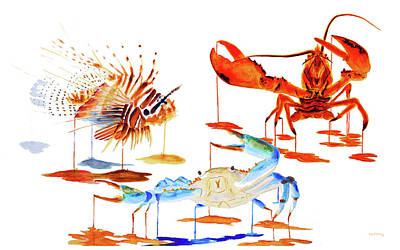 Crab Painting - Marine Collage by Ken Figurski